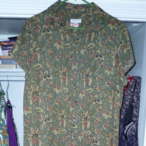 Charter Club 14W full dress olive floral lined